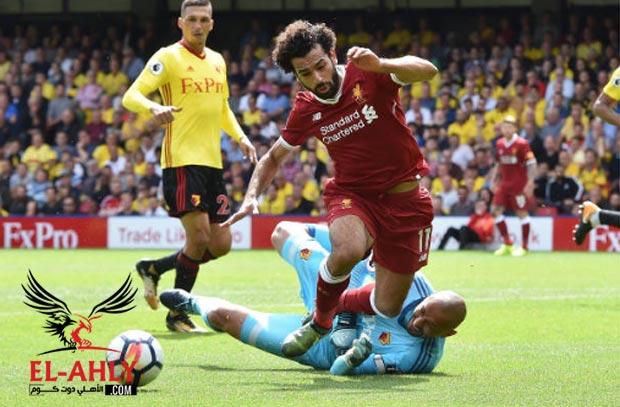 شاهد صلاح يتسبب في ركلة جزاء ويمنح ليفربول التعادل أمام واتفورد
