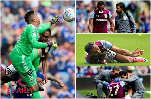 """إصابة """"دموية"""" للمحمدي في مباراة أستون فيلا وكارديف واللاعب يغادر الملعب"""