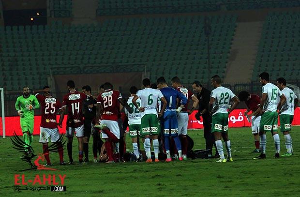 سليمان وباكا والشيخ يساندون الأهلي من علي دكة البدلاء امام المصري