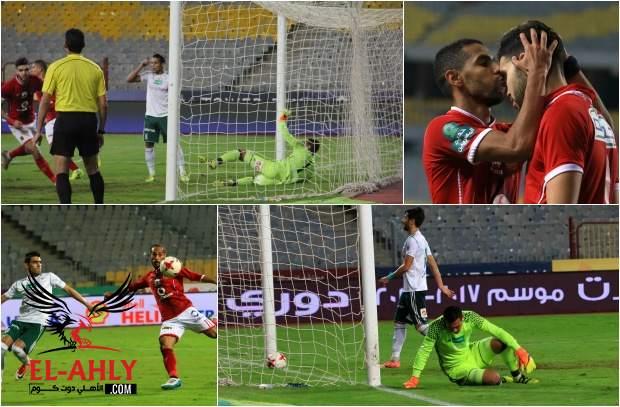 قبلة تُنهي الجدل ويسارية تقتل المباراة في صور هدفي الأهلي على المصري