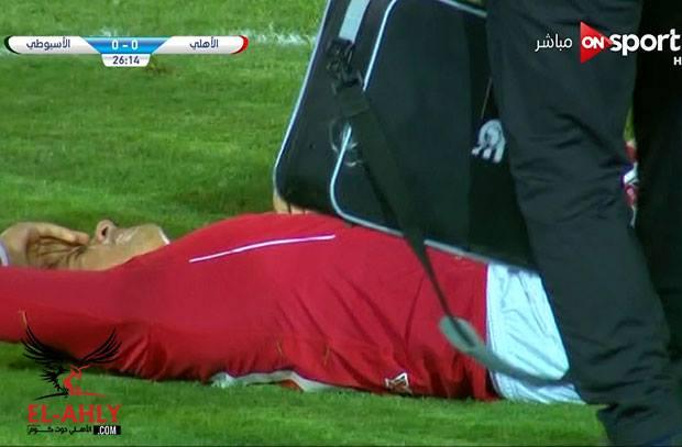سعد سمير يغادر مباراة الاسيوطي بسبب الاصابة