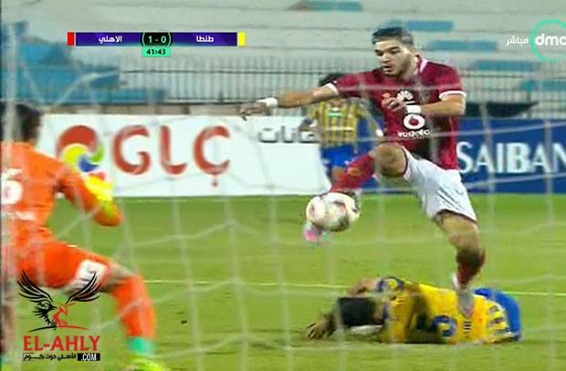 سرعة أزارو تربك دفاع طنطا ويسجل الهدف الاول للنادي الأهلي