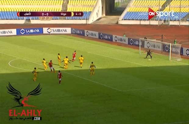 ميدو جابر يسجل أول أهدافه الأفريقية مع الأهلي أمام مونانا الجابوني