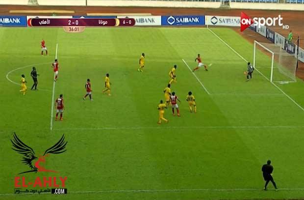 السولية يهدر فرصة الهدف الثالث للنادي الأهلي أمام مونانا