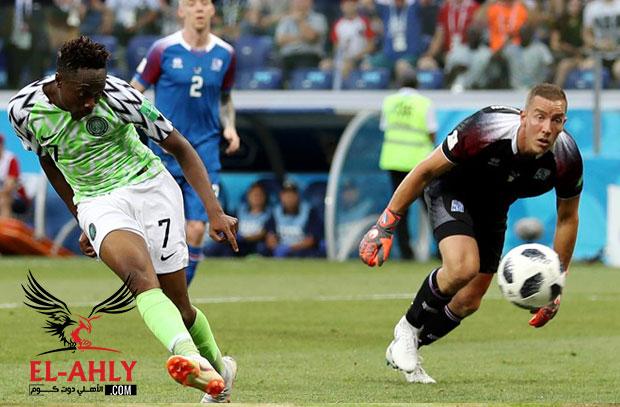 موسى الرائع يعود من جديد ويتقدم لنيجيريا بالهدف الثاني أمام ايسلندا