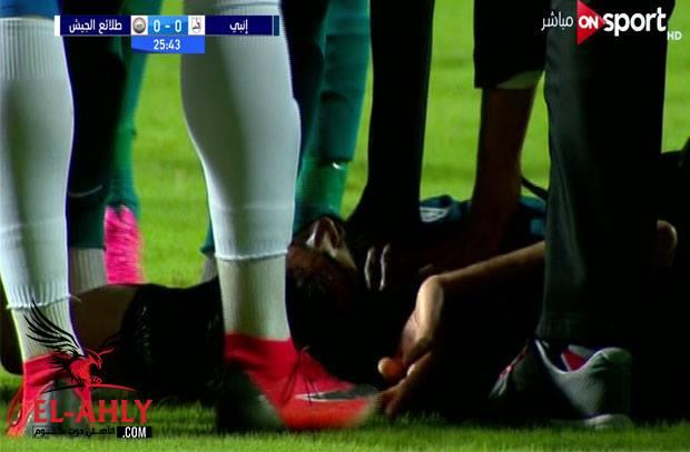 إصابة قوية لصلاح سليمان في مباراة إنبي وطلائع الجيش