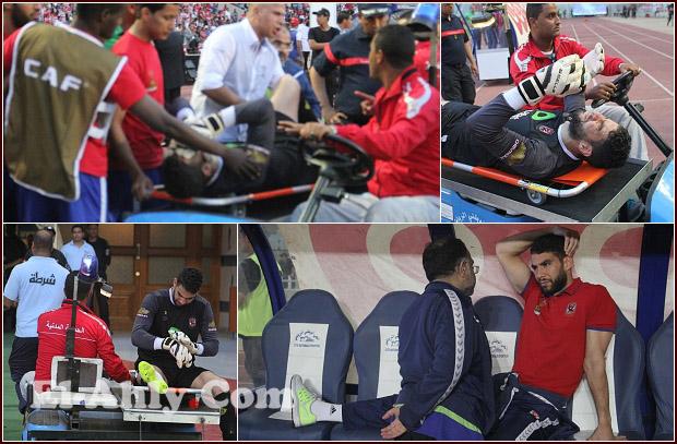 """لحظات إصابة شريف إكرامي """"القوية"""" وخروجه في مباراة الأفريقي"""