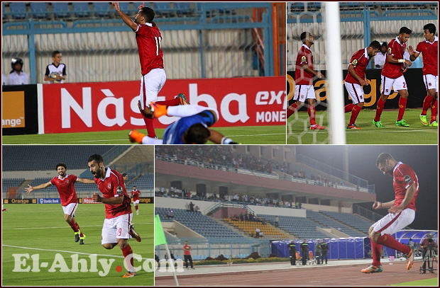 """شاهد عبد الله السعيد يدك الترجي وإحتفال""""طائر"""" مع لاعبي الأهلي"""