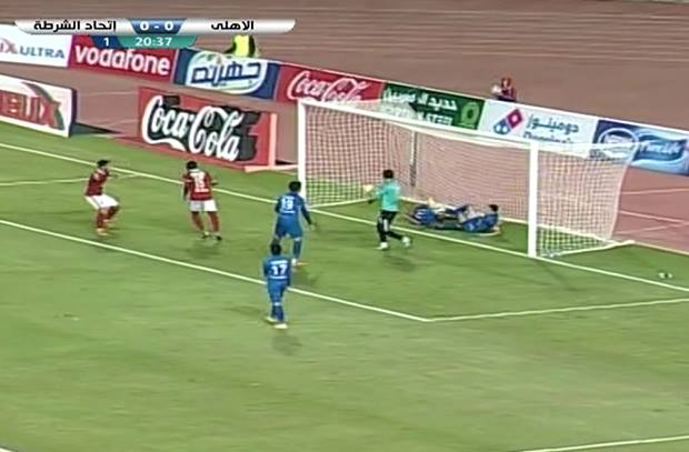 إيفونا يسجل الهدف الأول للأهلي من ضربة رأس