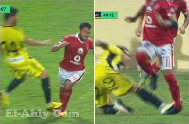 تدخلات قوية من لاعبي المقاولون ضد سليمان وفتحي .. والحكم يتجاهل عن طرد أحدهما