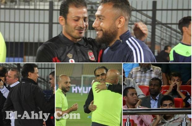 """شاهد شهاب أحمد يصافح زميله """"المدرب"""" وربيع ياسين يتابع المباراة"""