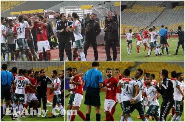 شاهد ما لم تنقله كاميرات التليفزيون مشادة لاعبي الأهلي والمصري بعد تدخل قوي ضد مؤمن زكريا