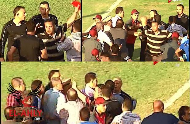 شاهد الأمن ينقذ حكم الإسماعيلي من إعتداء مسئولي طنطا في أرض الملعب